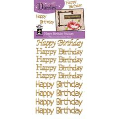 Happy Birthday Greetings Gold Glitter Stickers