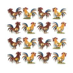 Repeats Stickers Roosters