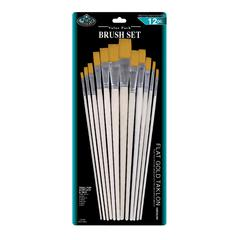 Gold Taklon Flat Brush Set