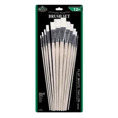 Royal & Langnickel White Taklon Flat Brush Set