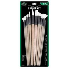 Royal & Langnickel White Taklon Combo Brush Set