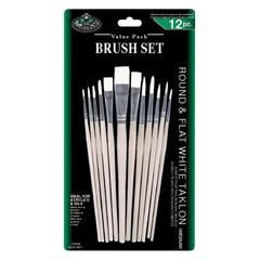 White Taklon Round & Flat Brush Set
