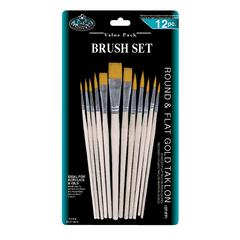 Gold Taklon Round & Flat Brush Set