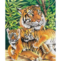 Medium Colored Pencil By Numbers Tiger & Cubs