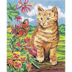 Reeves Medium Colored Pencil By Numbers Kitten & Butterfly