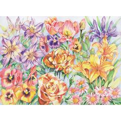 Large Colored Pencil By Numbers Floral Montage