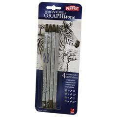 Derwent Graphitone Watersoluble Graphite Stick 4-Pencil Set