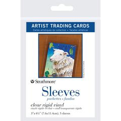 "Strathmore 3"" x 4.5"" Clear Rigid Vinyl Artist Trading Card Sleeves"