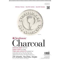 "Strathmore 500 Series 9"" x 12"" Wirebound Charcoal Pad White"