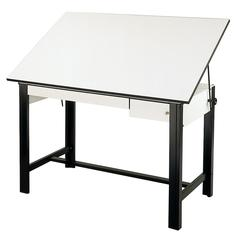 "Alvin DesignMaster Table Black Base White Top 2 Drawers 37.5"" x 60"""