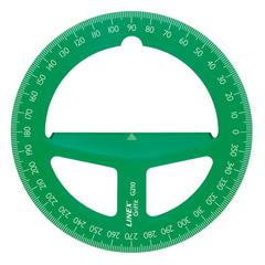 "4"" Translucent Green Circular Protractor"