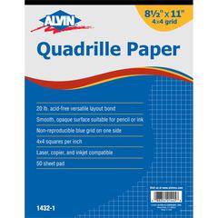 "Quadrille Paper 4x4 Grid 50-Sheet Pad 8.5"" x 11"""