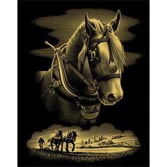 SCRPFOIL MED GOLD HORSE PRTRT