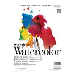 """Strathmore 200 Series 9"""" x 12"""" Cold Press Tape Bound Watercolor Pad"""