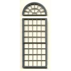 "Generic 1/4"" Scale Architectural Components 53-pane double hung round-top window set of 3"