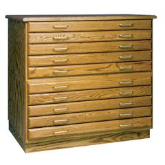 Medium Oak Finish 3 Drawer Flat File
