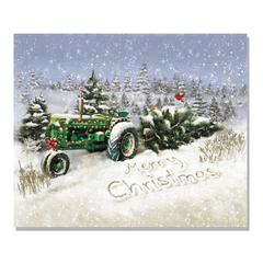 """Christmas Tree Tractor"" by Trendy Decor 4U Lighted Canvas Wall Art"