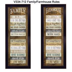"""""""Family/Farmhouse Rules Shutter"""" Collection By Marla Rae, Black Frame"""