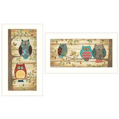 """""""Whimsical Owls"""" 2-Piece Vignette by Annie LaPoint, White Frame"""