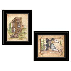 """Bear / Still Waiting"" 2-Piece Vignette by Mary Ann June, Black Frame"