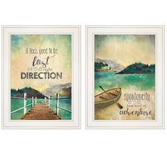 """Right Direction / Adventure"" 2-Piece Vignette by Marla Rae, White Frame"