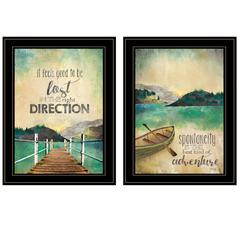 """Right Direction / Adventure"" 2-Piece Vignette by Marla Rae, Black Frame"