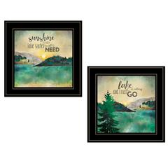 """Lake / Sunshine"" 2-Piece Vignette by Marla Rae, Black Frame"
