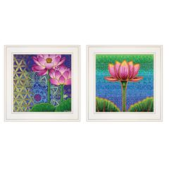 """Serenity / Lotus"" 2-Piece Vignette by Dorothy Siemens, White Frame"
