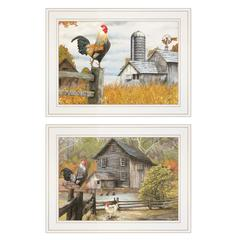 """Down on the Farm"" 2-Piece Vignette by Ed Wargo, White Frame"
