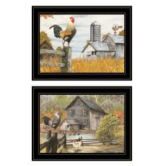 """Down on the Farm"" 2-Piece Vignette by Ed Wargo, Black Frame"