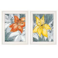 """Tiger Lilies"" 2-Piece Vignette by Roey Ebert, White Frame"
