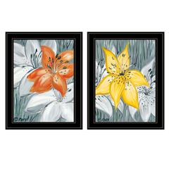 """Tiger Lilies"" 2-Piece Vignette by Roey Ebert, Black Frame"