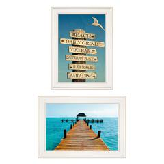"""Beach Nautical"" 2-Piece Vignette by Graffitee Studios, White Frame"