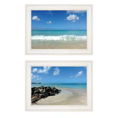 """Coastal Blues"" 2-Piece Vignette by Graffitee Studios, White Frame"