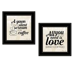 """All You Need is Coffee"" 2-Piece Vignette by Susan Boyer, Black Frame"