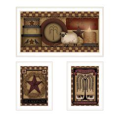 """Primitive Family and Friends"" 3-Piece Vignette by Carrie Knoff, White Frame"