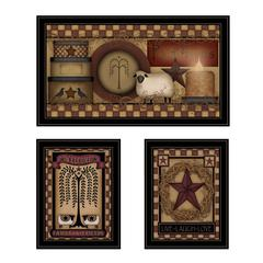"""Primitive Family and Friends"" 3-Piece Vignette by Carrie Knoff, Black Frame"