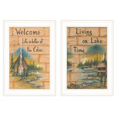 """Living on the Lake"" 2-Piece Vignette by Mary June, White Frame"