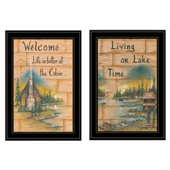"""Living on the Lake"" 2-Piece Vignette by Mary June, Black Frame"