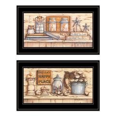 """My Happy Place"" 2-Piece Vignette by Mary June, Black Frame"