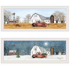 """Billy Jacobs Seasonal-Autumn/Winter"" 2-Piece Vignette, White Frame"