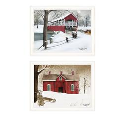 """Crisp & New Fallen Snow"" 2-Piece Vignette by Billy Jacobs, White Frame"