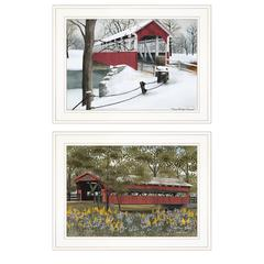 """Covered Bridge Collection II"" 2-Piece Vignette by Billy Jacobs, White Frame"
