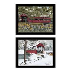 """Covered Bridge Collection II"" 2-Piece Vignette by Billy Jacobs, Black Frame"