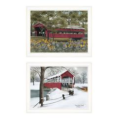 """Covered Bridge Collection III"" 2-Piece Vignette by Billy Jacobs, White Frame"