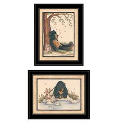 """Gone Fishing"" 2-Piece Vignette by Mary June, Black Frame"