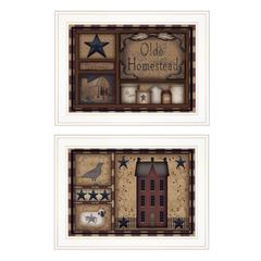 """Carrie's Primitives"" 2-Piece Vignette by Carrie Knoff, White Frame"