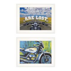 """White Harley"" 2-Piece Vignette by Lauren Rader, White Frame"