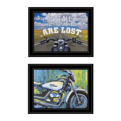 """White Harley"" 2-Piece Vignette by Lauren Rader, Black Frame"