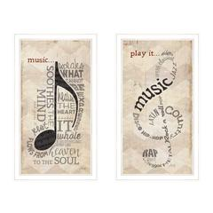 """Music"" Collection 2-Piece Vignette By Marla Rae, White Frame"